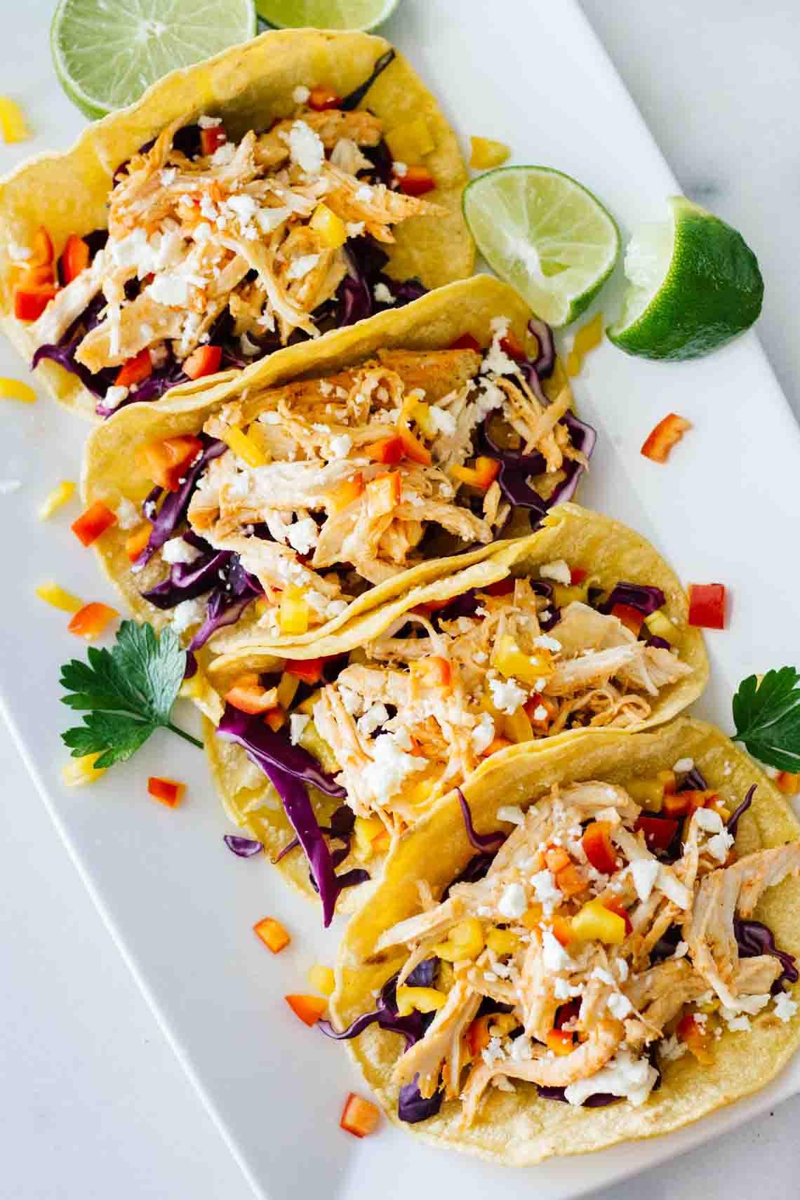 Simple Healthy Dinners  Healthy Sriracha Shredded Chicken Tacos Jar Lemons
