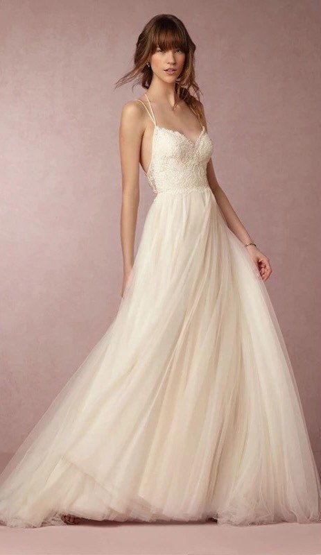 Simple Spaghetti Strap Wedding Dress  Simple minimal spaghetti strap wedding dress with by