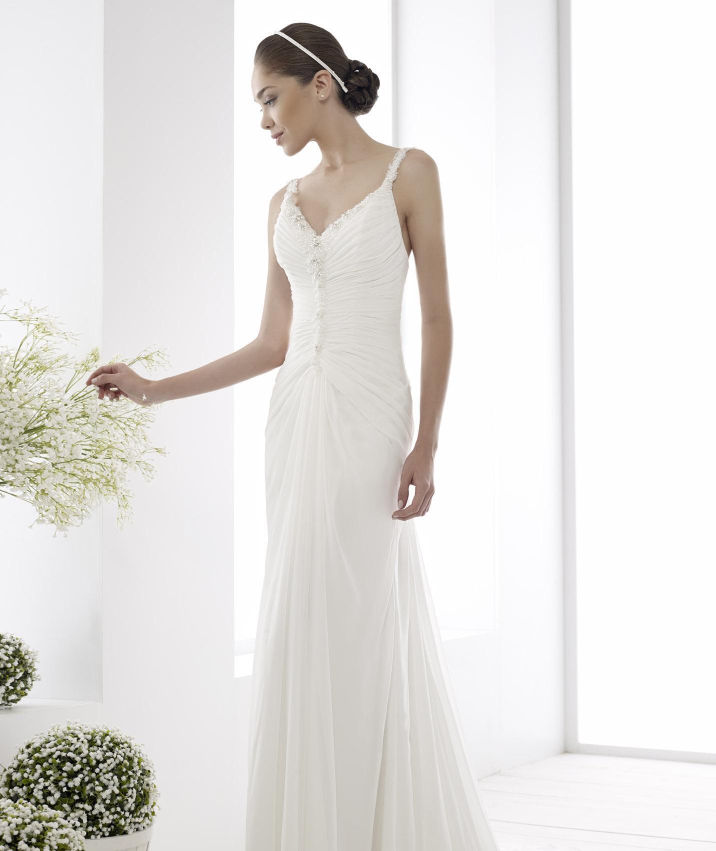 Simple Spaghetti Strap Wedding Dress  Simple Sweep brush Train Chiffon Sheath column Beading