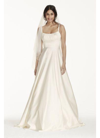 Simple Spaghetti Strap Wedding Dress  Satin Empire Wedding Dress with Spaghetti Straps Davids