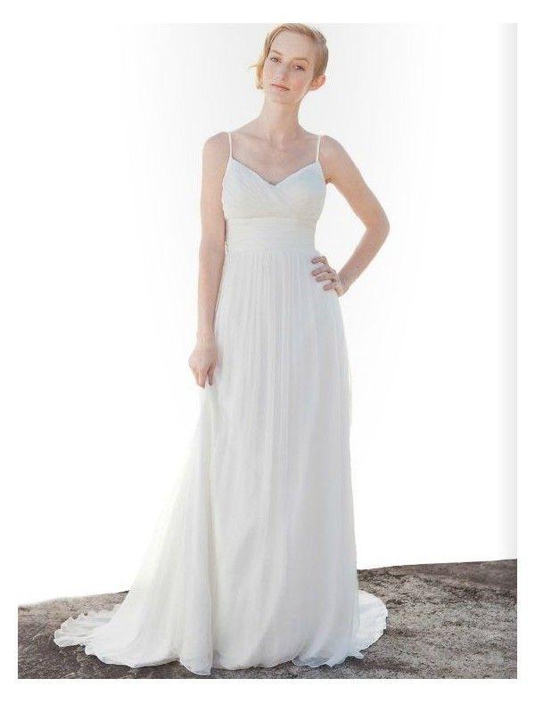 Simple Spaghetti Strap Wedding Dress  Chiffon Spaghetti Straps Simple Wedding Dress