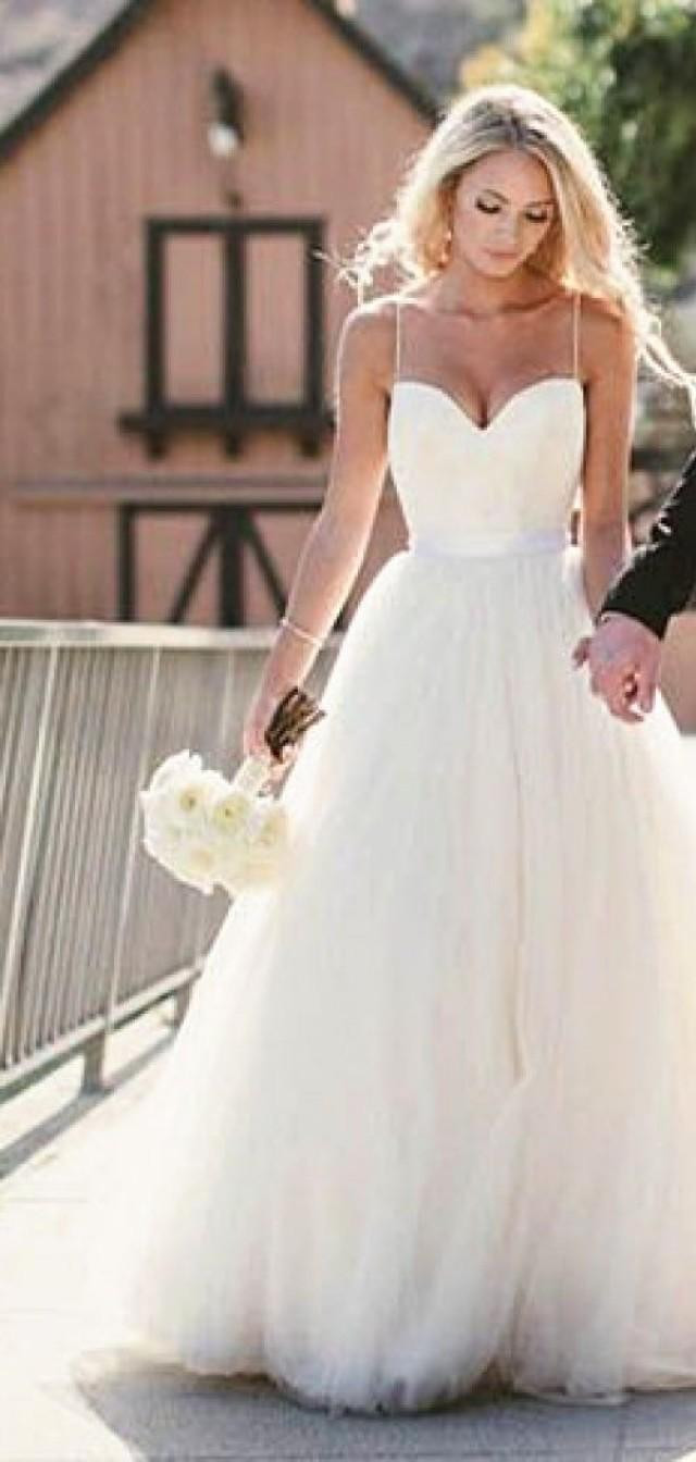 Simple Spaghetti Strap Wedding Dress  Simple Spaghetti Straps Layers Tulle Ball Gown Wedding