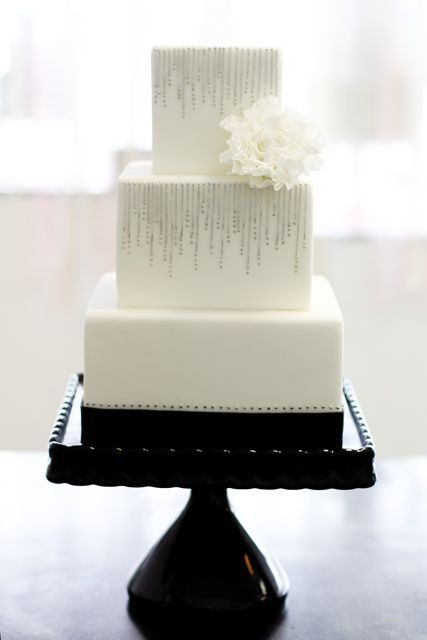 Simple Square Wedding Cakes  49 Amazing Black and White Wedding Cakes