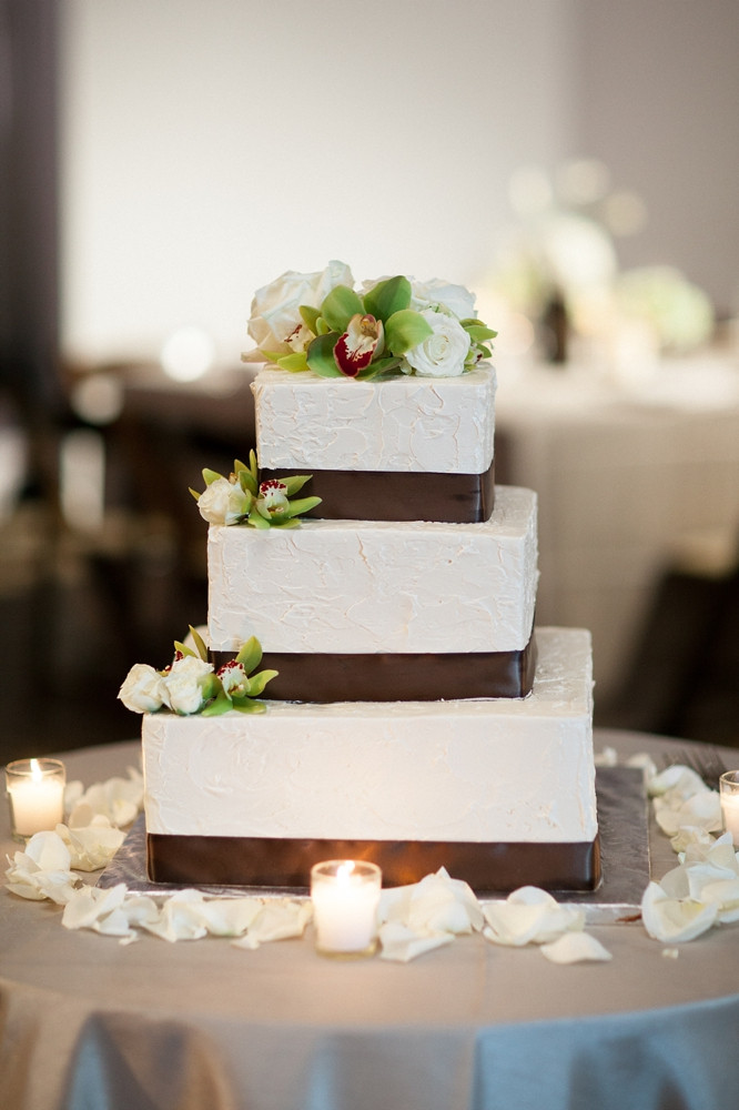 Simple Square Wedding Cakes  Square Wedding Cake With Brown Satin Ribbon Elizabeth
