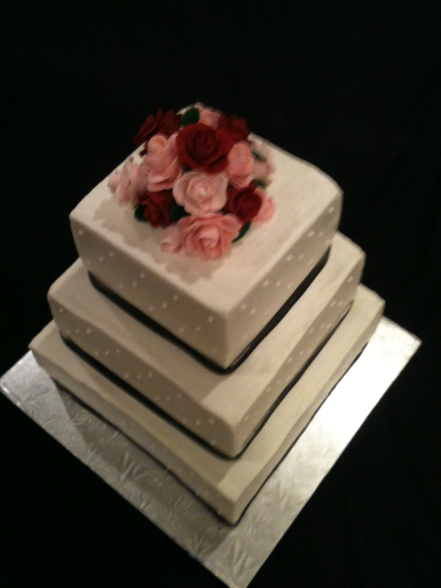 Simple Square Wedding Cakes  Simple Square Wedding Cake CakeCentral