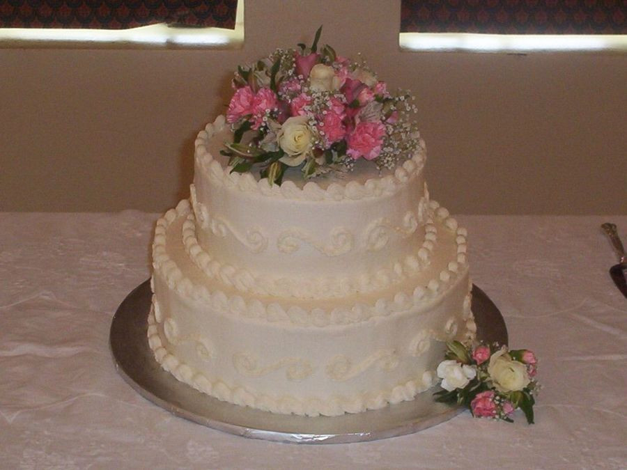 Simple Two Tier Wedding Cakes  2 Tier Round Wedding Cake CakeCentral