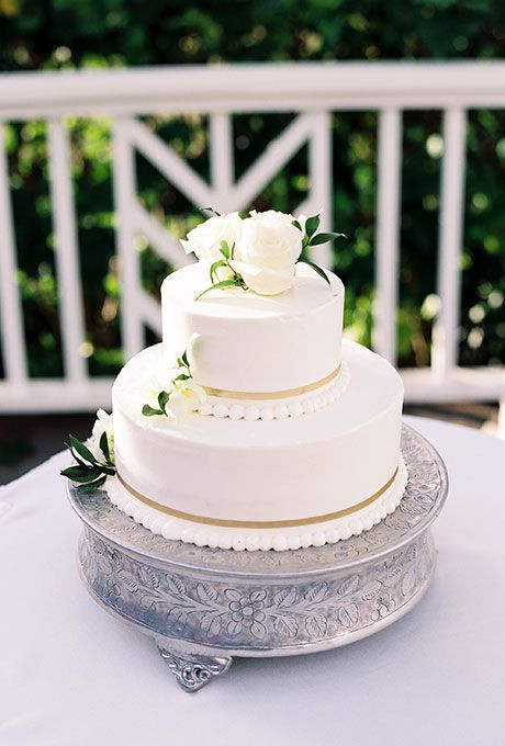 Simple Two Tier Wedding Cakes  Brides Classic White Cake with Pearl Details & Flowers A