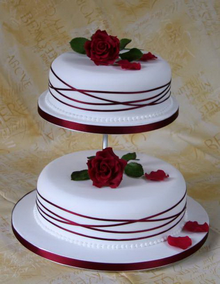 Simple Two Tier Wedding Cakes  White And Red 2 Tier Wedding Cakes Vintage Wedding Cakes