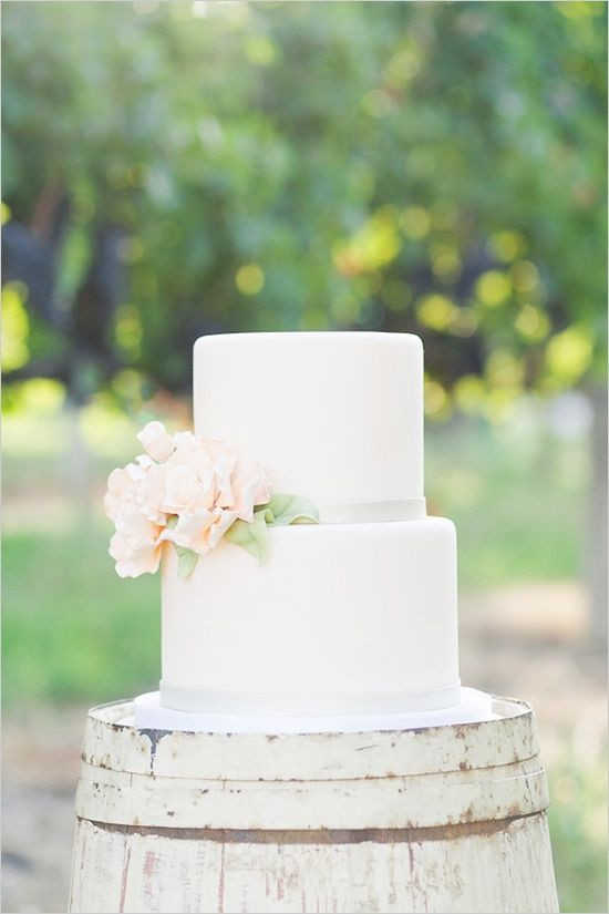 Simple Two Tier Wedding Cakes  Simple two tier white wedding cake with a flower on the