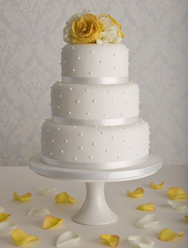 Simple Wedding Cakes Pinterest  3 tier wedding cake round with pearl accents with a