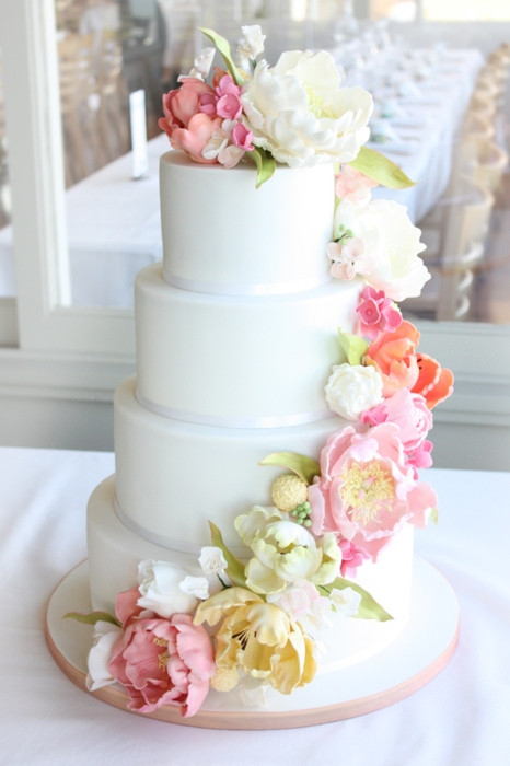 Simple Wedding Cakes With Flowers  Four Tiered White Fondant Wedding Cake