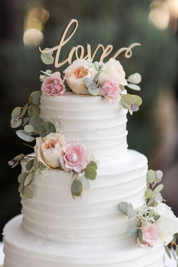 Simple Wedding Cakes With Flowers  Classic Vineyard Wedding with a Touch of Vintage