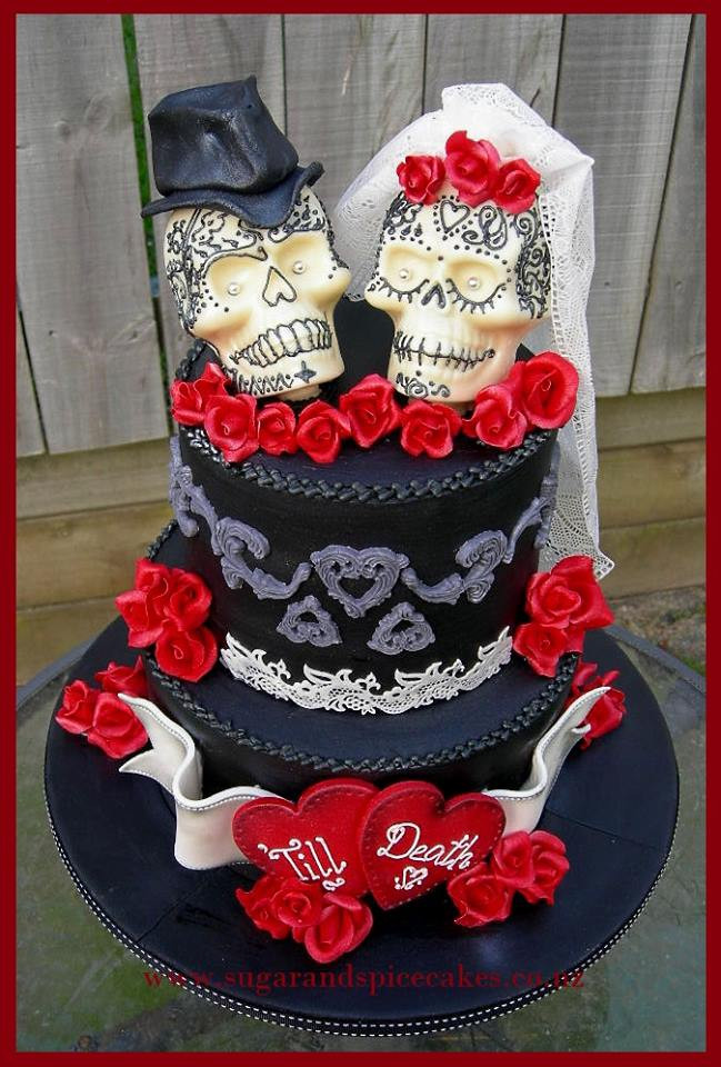 Skull Wedding Cakes  Cakes – Wedding – Sugar and Spice Celebration Cakes Auckland