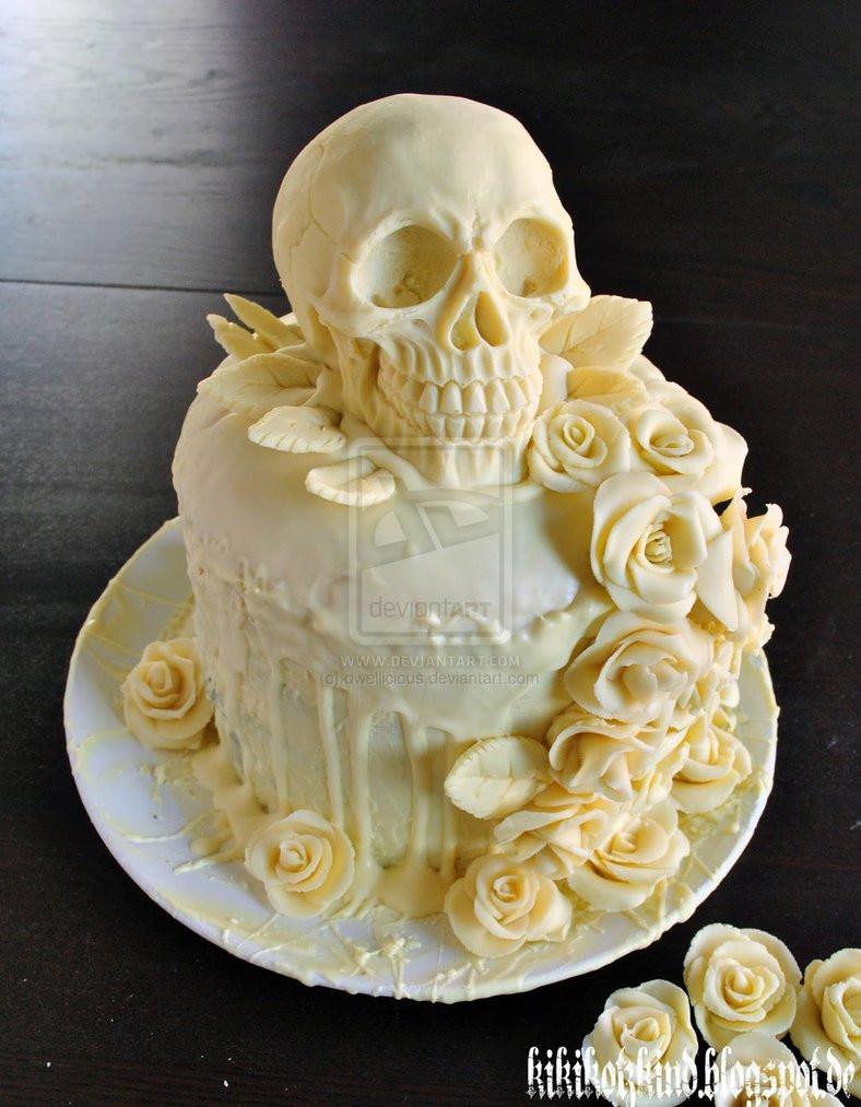 Skull Wedding Cakes  Our skull wedding cake by dwellicious on DeviantArt