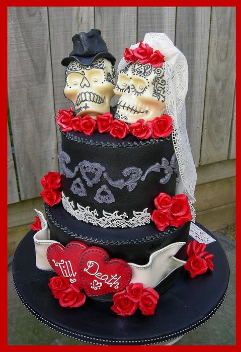 Skull Wedding Cakes  Till Death Gothic Skulls Wedding Cake Cake by Mel