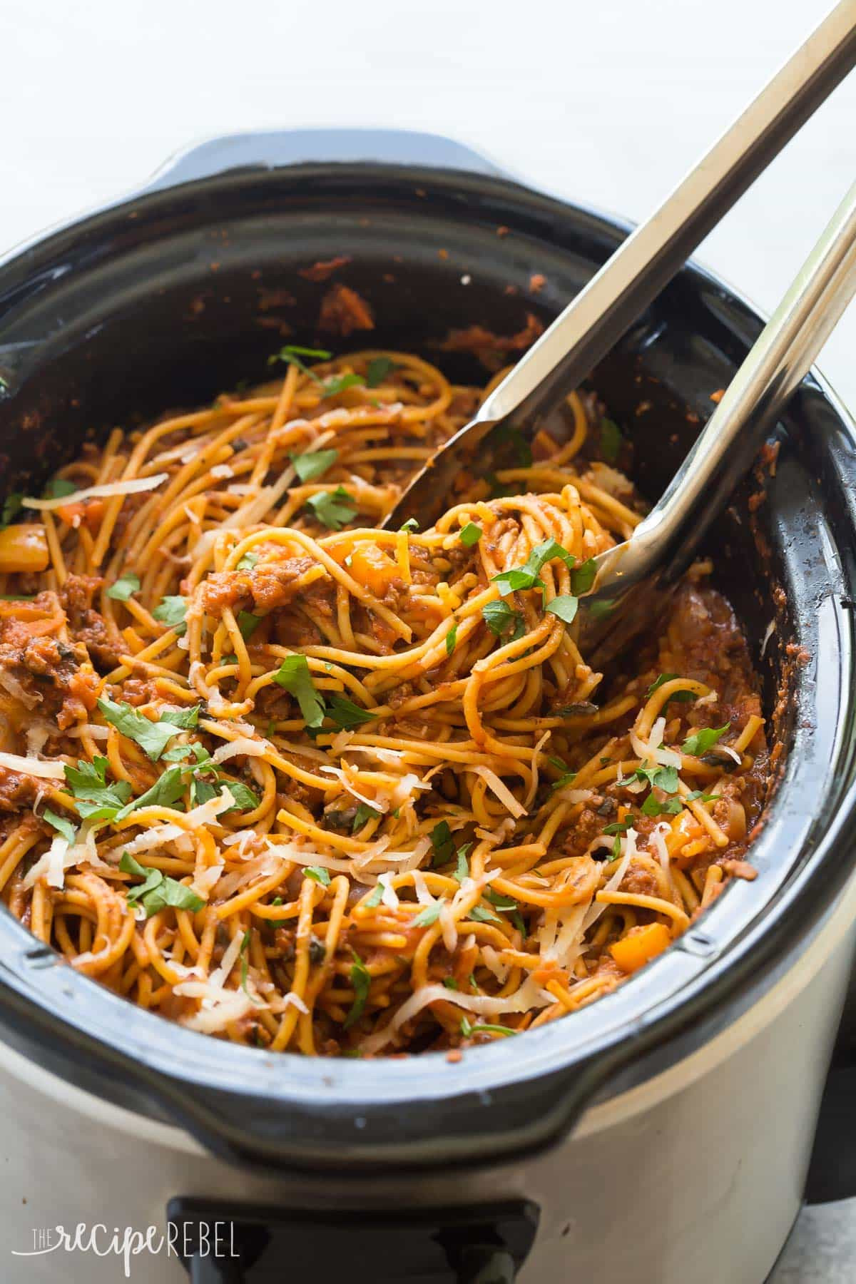 Slow Cooker Ground Beef Recipes Healthy  Healthier Slow Cooker Spaghetti and Meat Sauce VIDEO