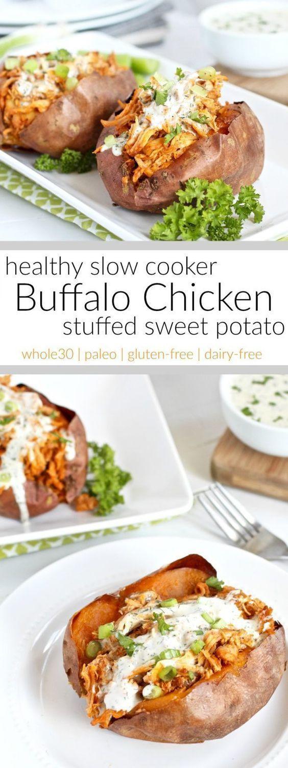 Slow Cooker Sweet Potato Recipes Healthy  Slow Cooker Buffalo Chicken Stuffed Sweet Potato