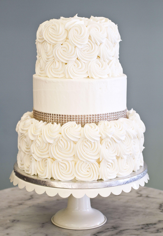 Small Elegant Wedding Cakes  A simple elegant wedding cake with rosettes and