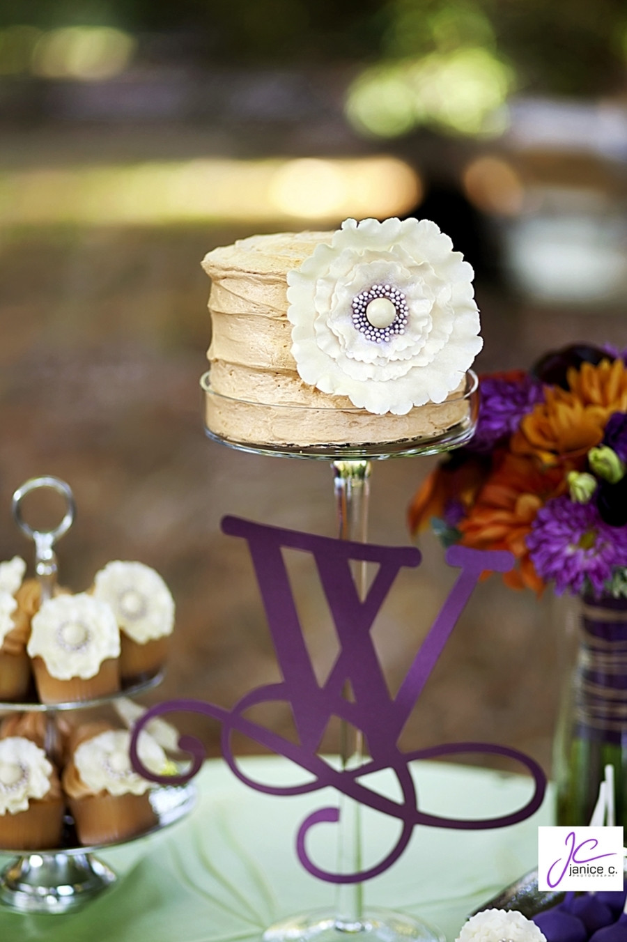 Small Rustic Wedding Cakes  Rustic Small Wedding Cake With Ruffled Flowers