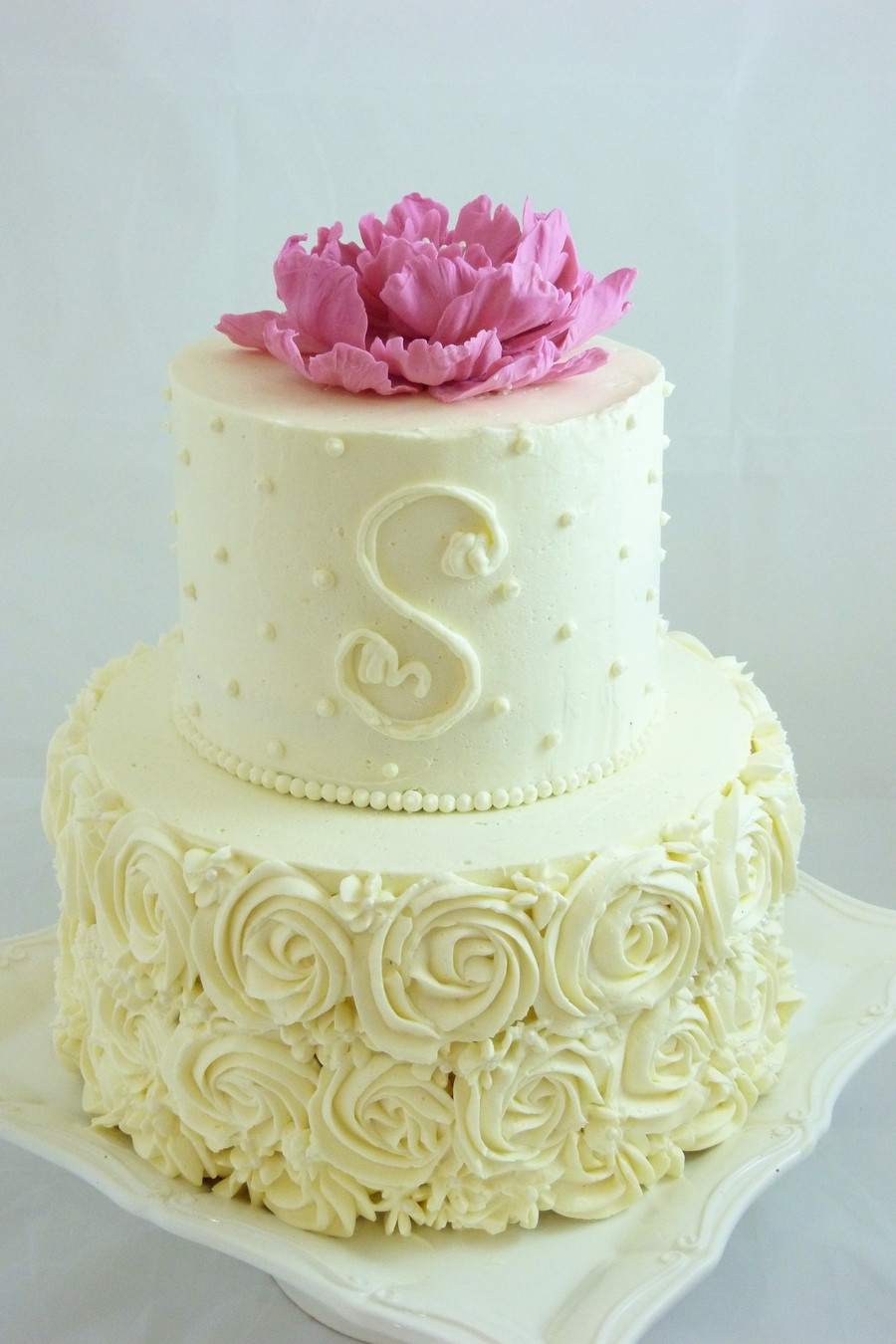 Small Wedding Cakes Pictures  Buttercream Decorated Small Wedding Cake With Piped Roses