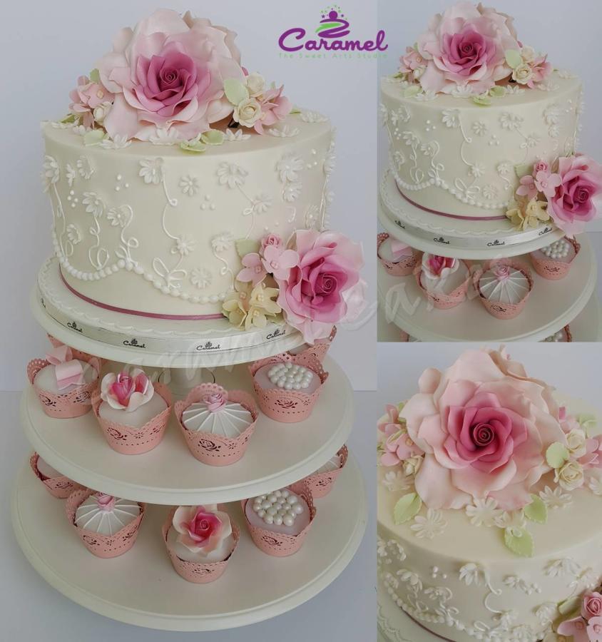 Small Wedding Cakes With Cupcakes  Mini Wedding Cake & Cupcakes Cake by Caramel Doha