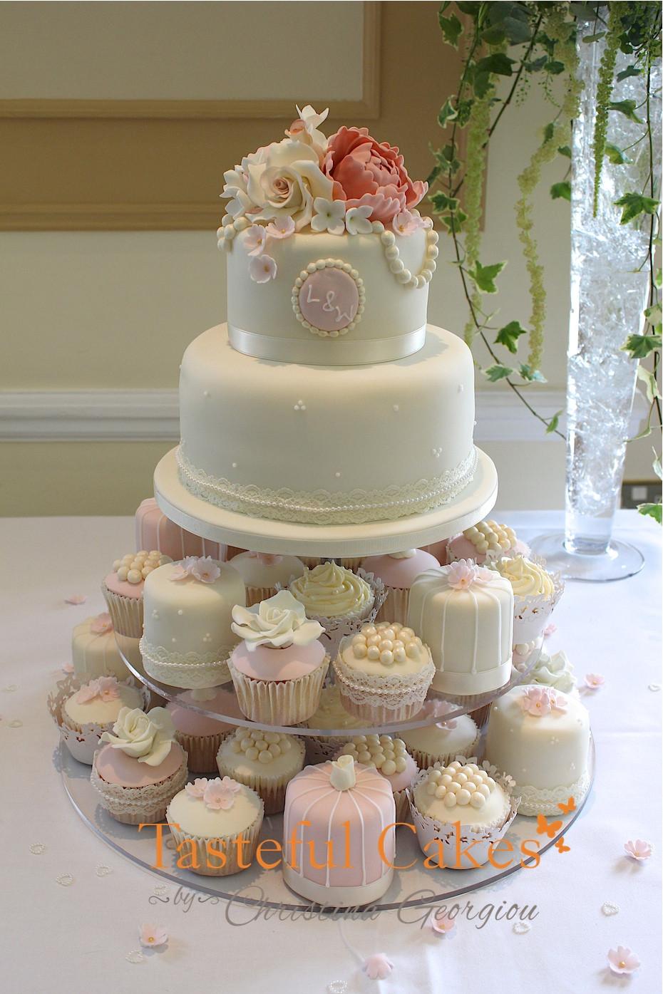 Small Wedding Cakes With Cupcakes  Tasteful Cakes By Christina Georgiou
