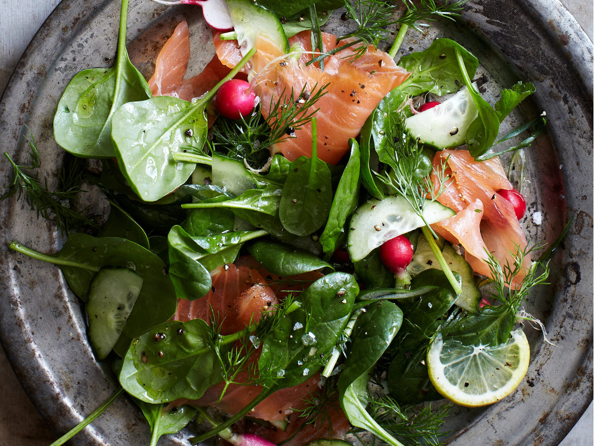 Smoked Salmon Salad Recipes Healthy  Spinach and Smoked Salmon Salad with Lemon Dill Dressing