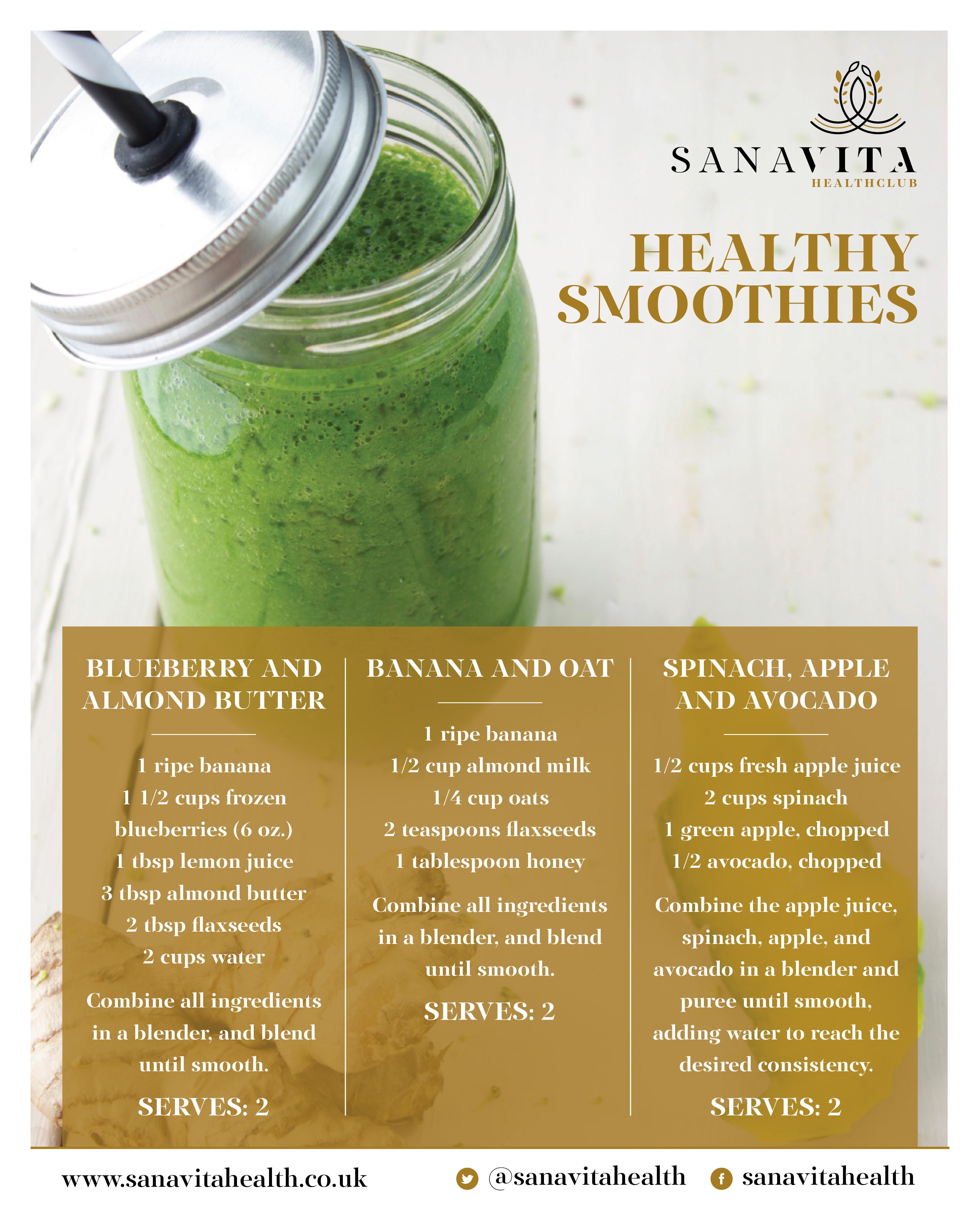 Smoothies Recipes Healthy  Sana Vita Health Club