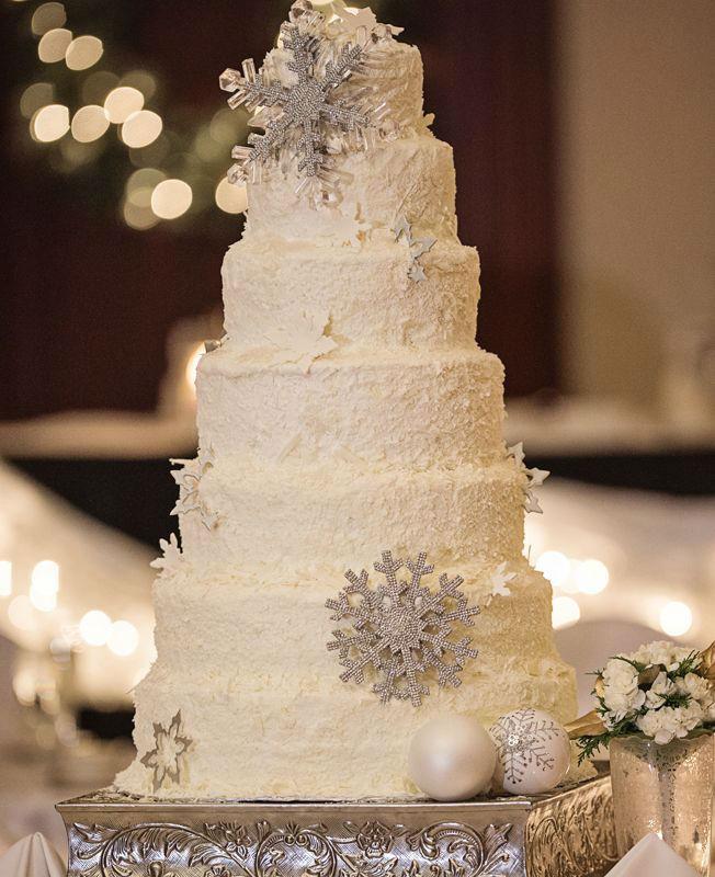 Snow Flake Wedding Cakes  41 Adorable Winter Wedding Cake Ideas