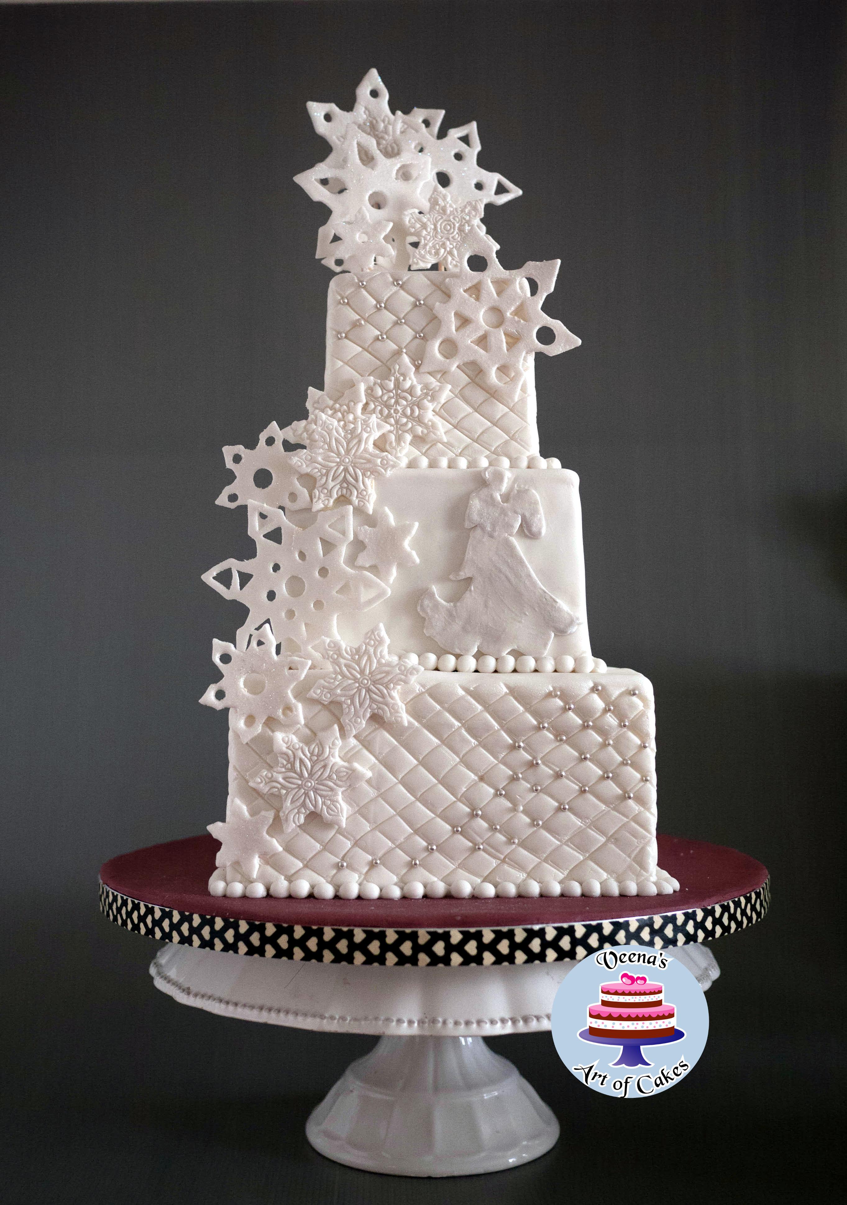 Snow Flake Wedding Cakes  Snowflake Wedding Cake Veena Azmanov