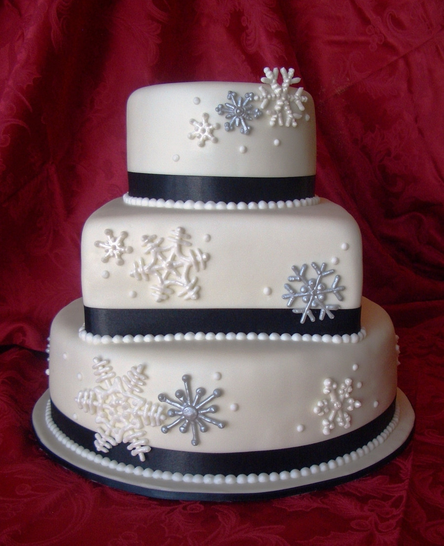 Snow Flake Wedding Cakes  Silver And Pearl Snowflakes CakeCentral