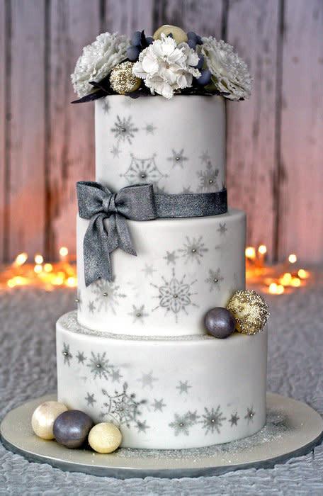 Snow Flake Wedding Cakes  Winter Wonderland Wedding Cake & peony tutorial Cake