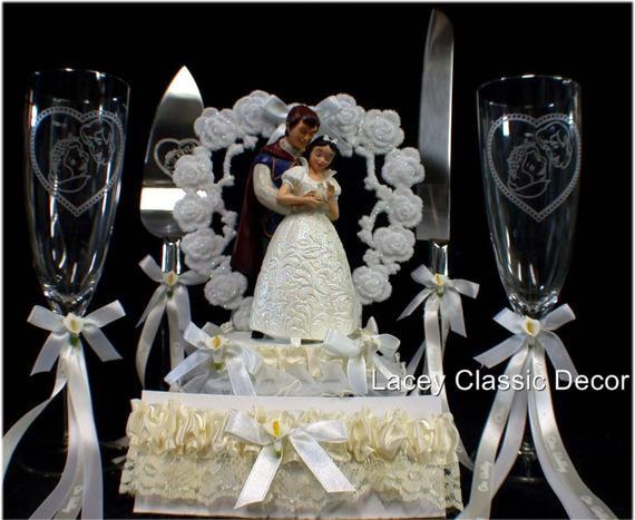 Snow White Wedding Cake Topper  Disney SNOW WHITE Wedding Cake Topper lot Glasses Knife
