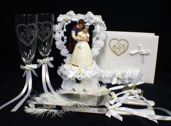 Snow White Wedding Cake Topper  Disney Snow White & Prince Wedding Cake Topper LOT Glasses