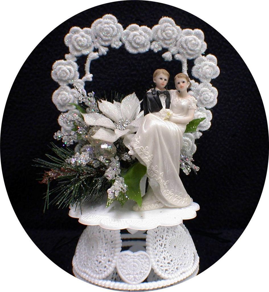 Snow White Wedding Cake Topper  Christmas Winter Wonderland Sparkle Snow White Wedding