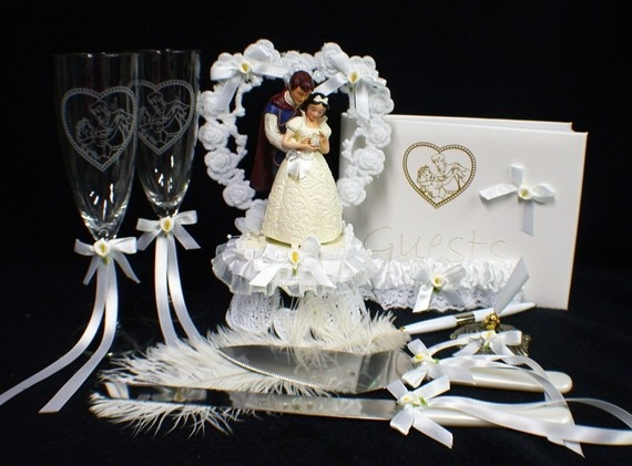 Snow White Wedding Cake Toppers  Disney Snow White & Prince Wedding Cake Topper LOT Glasses