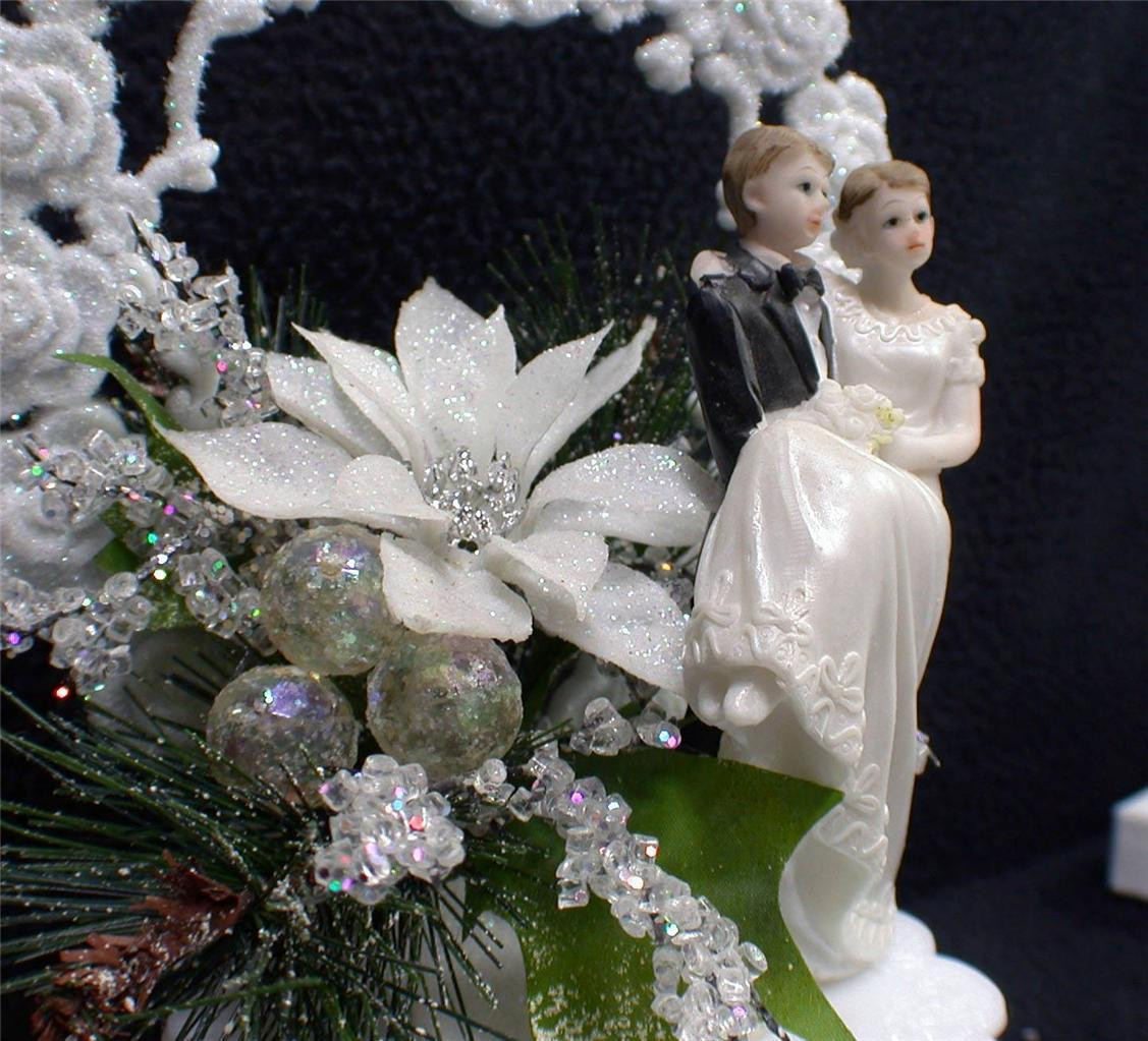 Snow White Wedding Cake Toppers  Christmas Winter Wonderland Sparkle Snow White Wedding