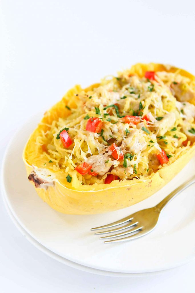 Spaghetti Squash Healthy  Pesto Chicken Stuffed Spaghetti Squash Recipe Healthy