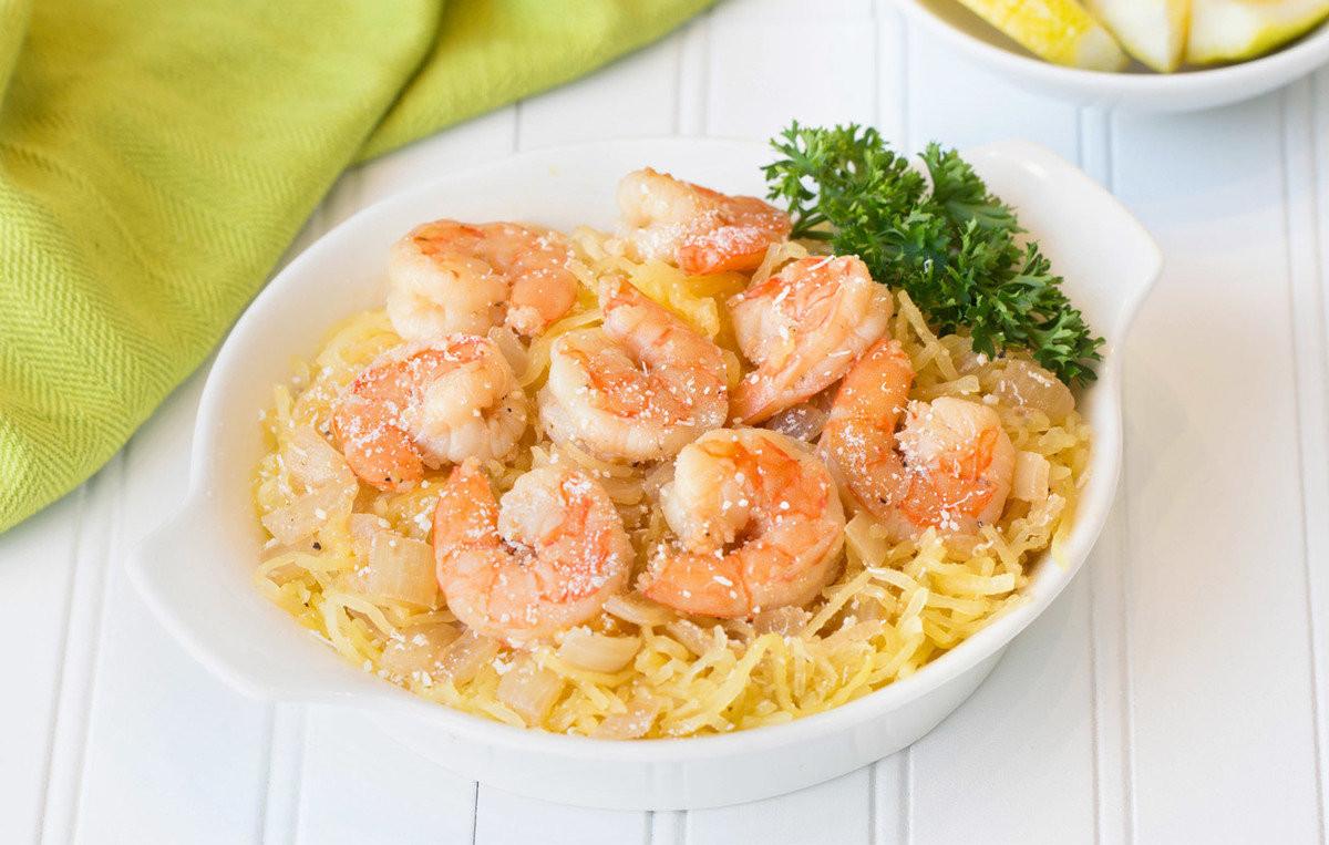 Spaghetti Squash Recipes Healthy  Healthy Spaghetti Squash Shrimp Scampi Recipe