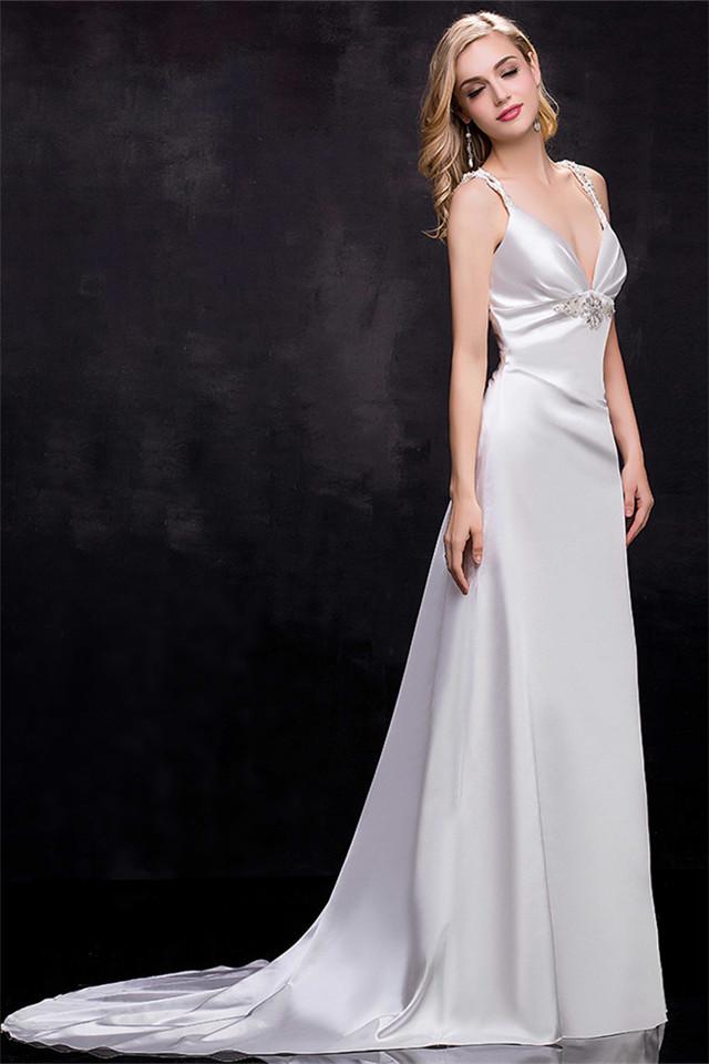 Spaghetti Strap A Line Wedding Dress  New Arrival White Spaghetti Strap Bridal Gowns A Line