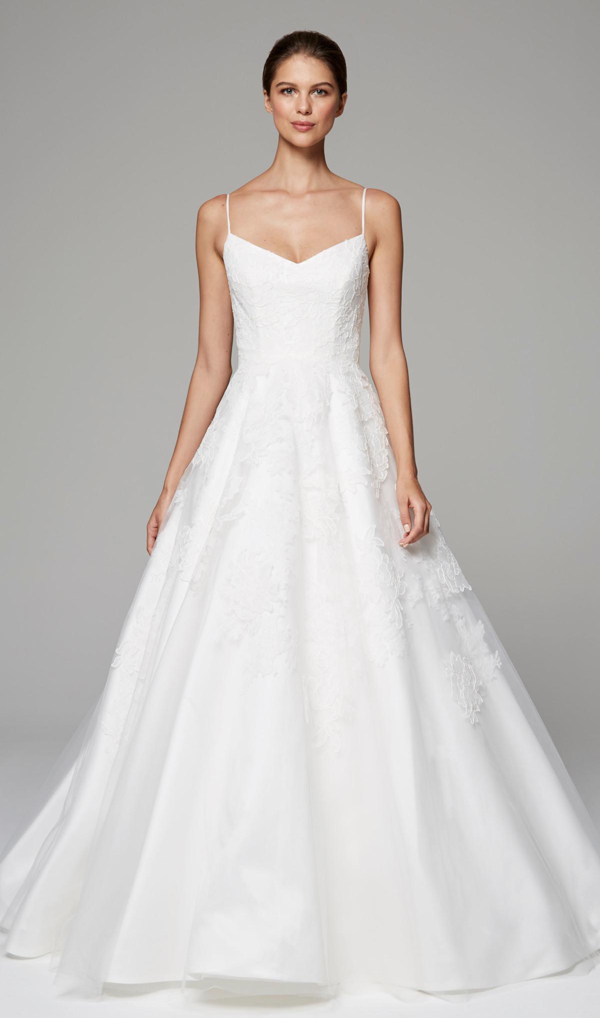Spaghetti Strap A Line Wedding Dress  Spaghetti Strap A line V neck Wedding Dress