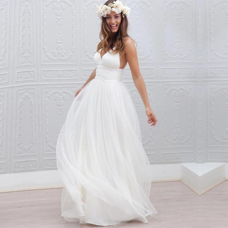 Spaghetti Strap A Line Wedding Dress  2016 Wedding Dresses Cheap V Neck Spaghetti Strap Pleats