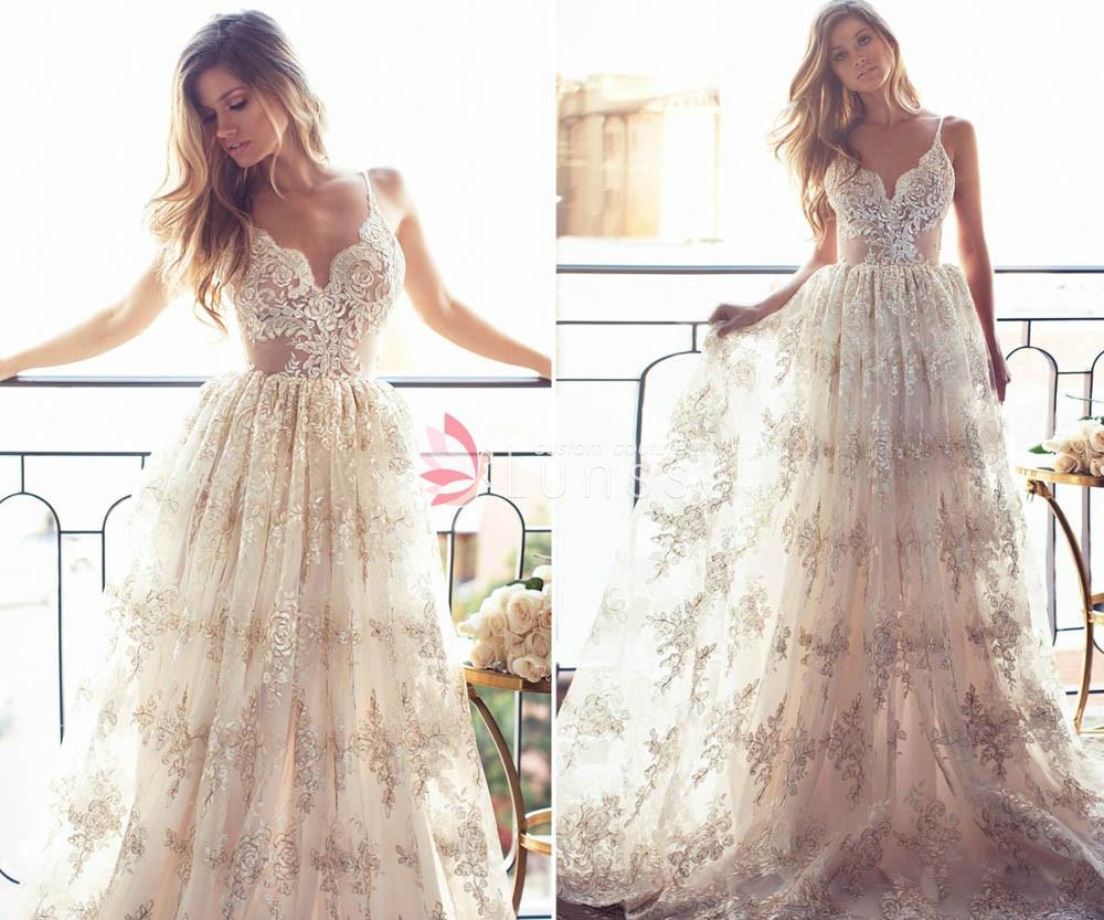 Spaghetti Strap A Line Wedding Dress  Champagne Gold Spaghetti Strap V neck A line Full Lace