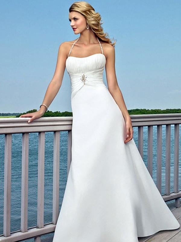 Spaghetti Strap A Line Wedding Dress  White A Line With Spaghetti Straps Neckline Wedding Dress