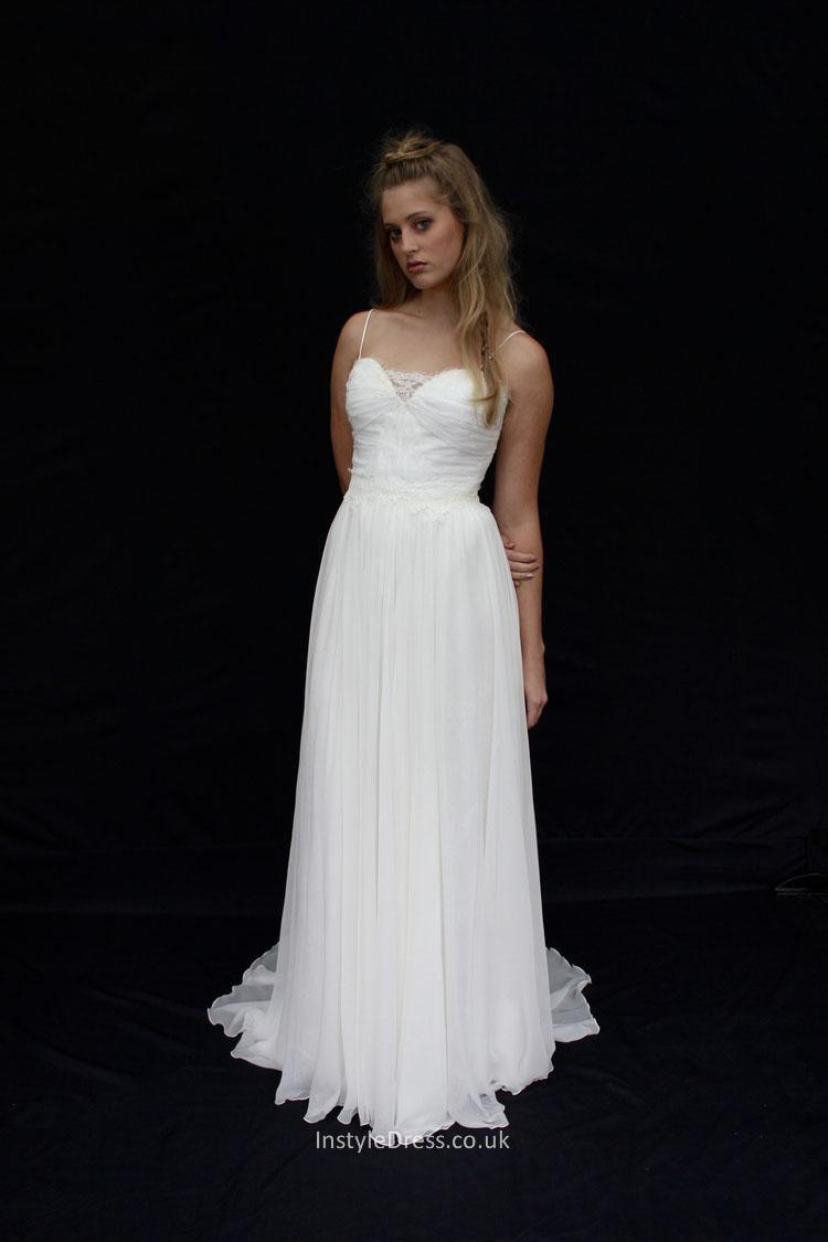 Spaghetti Strap A Line Wedding Dress  Spaghetti Strap A line Ivory Floor Length Chiffon