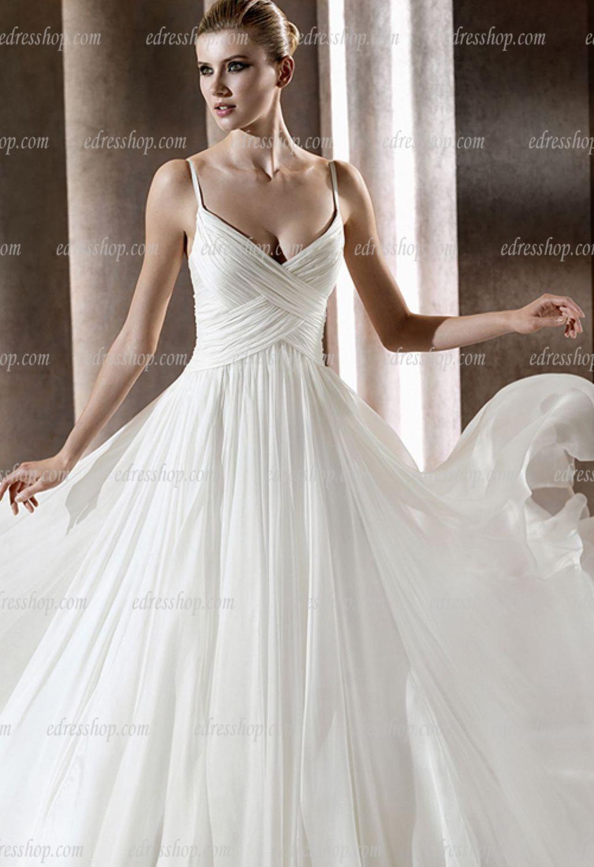 Spaghetti Strap A Line Wedding Dress  Spaghetti Strap A Line Simple Elegant Wedding Dress Court