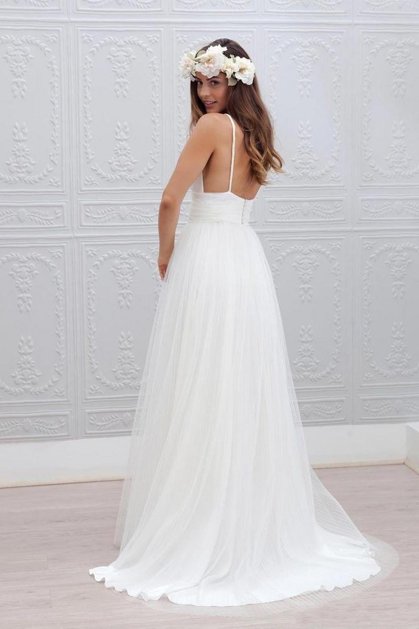 Spaghetti Strap A Line Wedding Dress  2015 Beach Wedding Dresses Cheap V Neck Spaghetti Strap