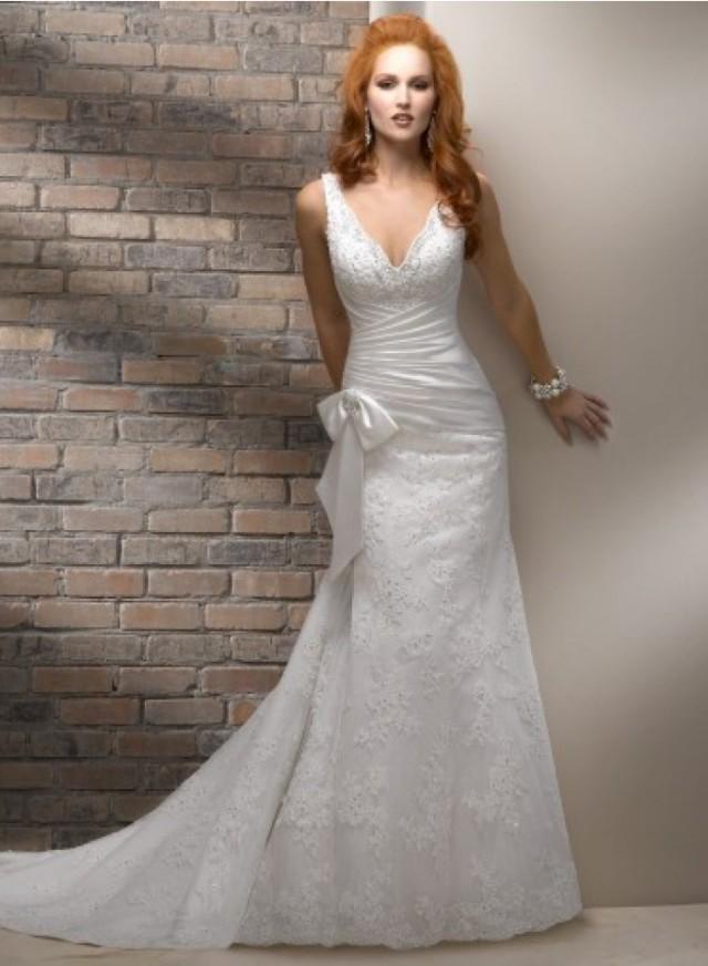 Spaghetti Strap A Line Wedding Dress  A line Spaghetti Strap Appliques Lace Bow Column Sheath