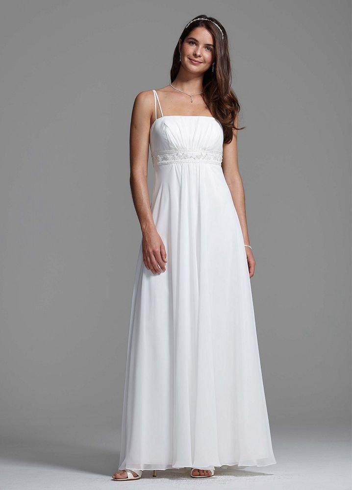 Spaghetti Strap A Line Wedding Dress  Modern Wedding Dresses White Spaghetti Strap Chiffon A