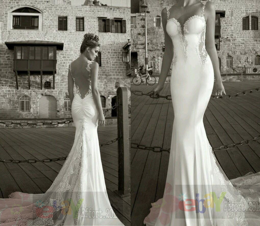 Spaghetti Strap Backless Wedding Dress  Spaghetti Straps Sleeveless Backless Mermaid Bridal